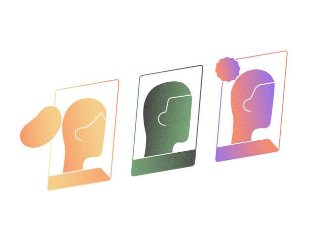 Illustration of three heads