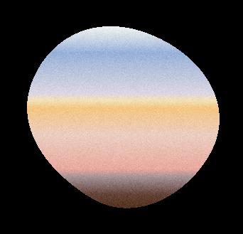 Sun set framed in a blob shape