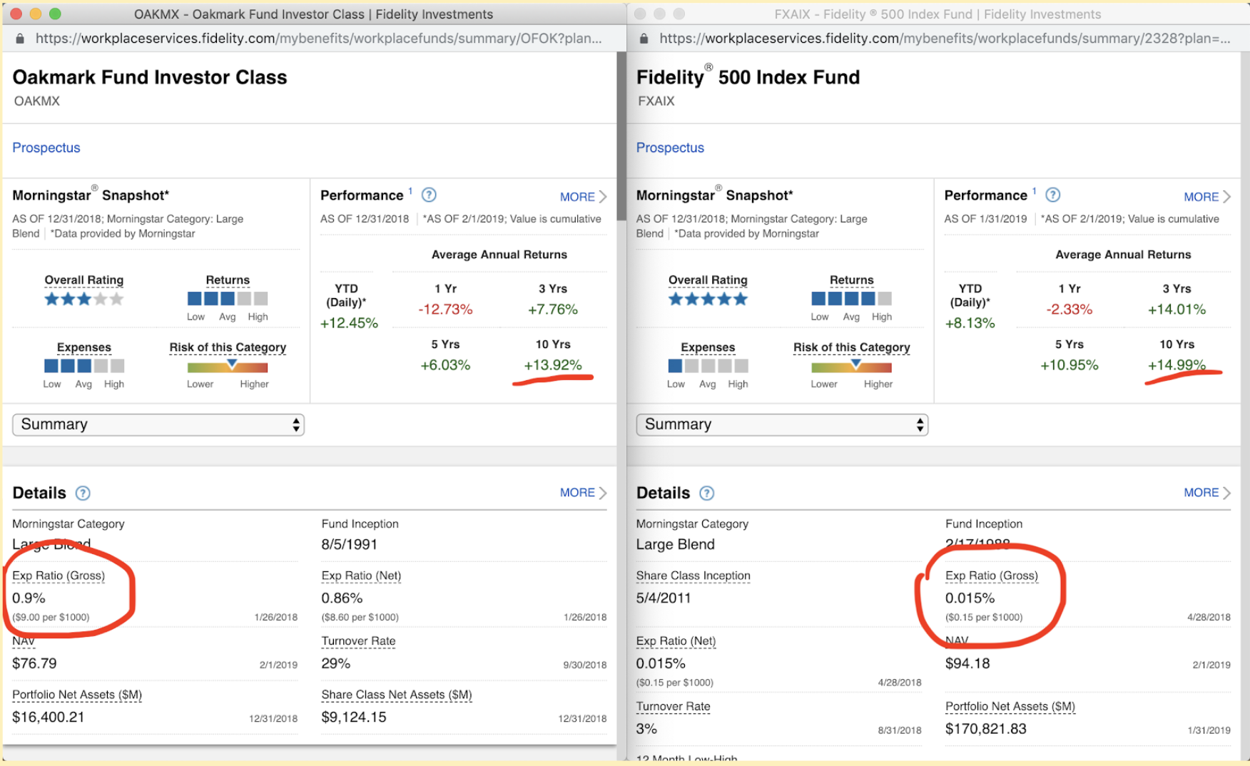 computer screenshots comparing two different retirement funds for nurse retirement