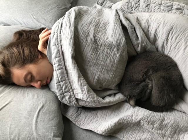 travel nurse holmes sleeping after night shift