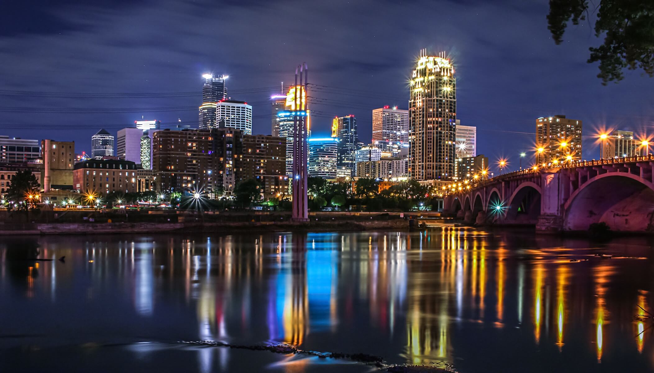 Minneapolis river and bridge view into the city
