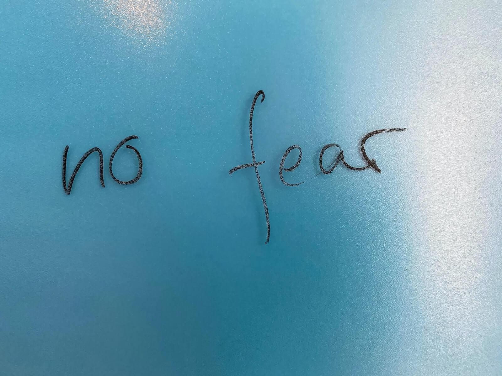 no fear written on blue background advice for new grad nurses 2020