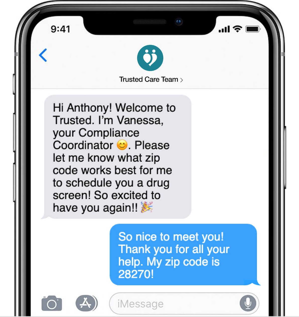 screenshot of iphone text conversation between trusted care team and working nurse trusted health care team communication