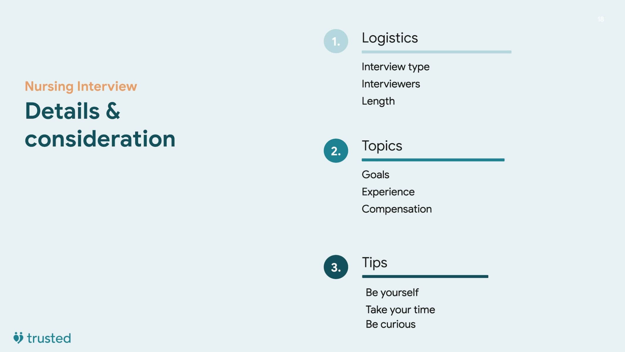 introductory slide highlighting the importance of logistics, topics, and tips when preparing for your nursing interview