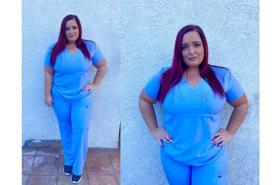 nurse jeri ford wearing poppy scrubs for poppy scrubs review
