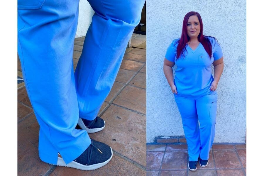 nurse jeri ford wearing poppy scrubs for poppy scrubs review different angles