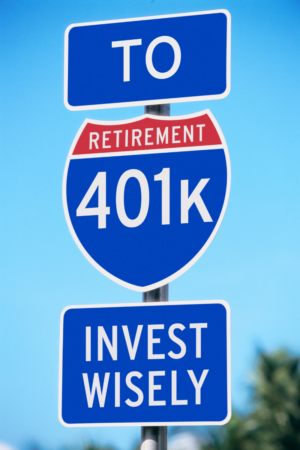 road sign saying to 401k retirement invest wisely