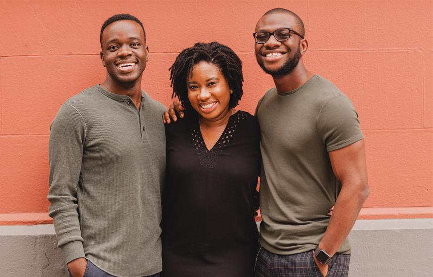 Image of Helium Health founders: Adegoke, Tito, and Dimeji