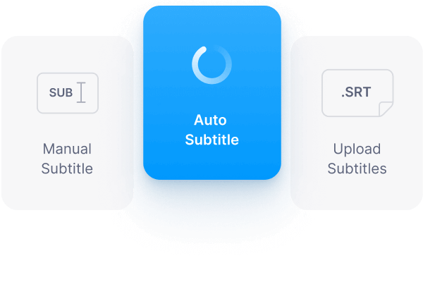 Manually type, auto transcribe, or upload subtitle file